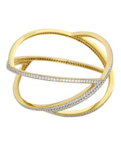 LARA BOHINC | Sterling And Vermeil Planetaria Bangle From Featuring Sculptural Curved Form Inspired By Elegant Lines Of Copernicus Astronomical Model Accentuated With Circonium Pave