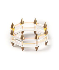 SARAH ANGOLD STUDIO | Limited Edition Sirata Bracelet From Featuing A Two Tier Lasercut Brass And Luninescent Layered Acrylic Bracelet With Spikes Throughout