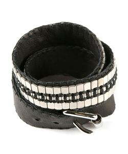 JEAN-FRANCOIS MIMILLA | Leather Wrap Bracelet From Featuring Stainless Steel Plate Embellishments And An Adjustable Buckle Fastening