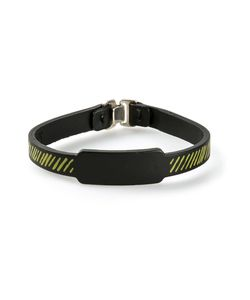 JVDF | Leather Hand-Painted Repp Stripe Bracelet From Featuring A Striped Print And A Hook Eye Fastening