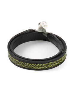 JVDF | Leather Hand-Painted Herringbone Bracelet From Featuring A Toggle Fastening