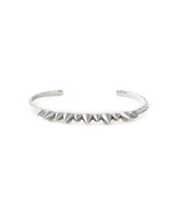 JO LLE JEWELLERY | Polished Rhodium Spike Bangle From Featuring Spike Stud Accents