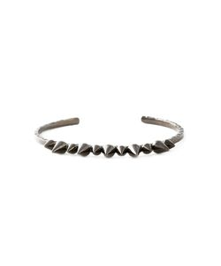 JO LLE JEWELLERY | Rhodium Spike Bangle From Featuring A Curved Structure And Spike Stud Accents