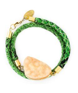 KATERINA PSOMA   Emerald Leather Python Effect Stone Bracelet From