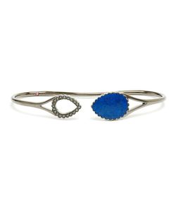 GAYDAMAK | Oxidised Hand Bracelet With Large Lapis Stone From