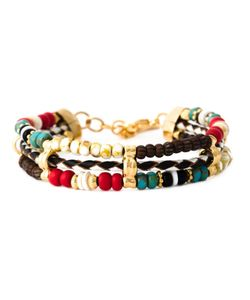 GAS BIJOUX | Multicoloured 24kt Plated Metal And Leather Cielo Triple Bracelet From