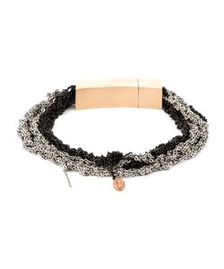 Arielle De Pinto | Ash And Charcoal Stainless Steel Crocheted Chain Bracelet From