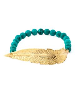 Leivankash | 22kt Plated And Turquoise Beaded Feather Bracelet From