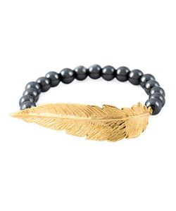 Leivankash | 22kt Plated And Hematite Beaded Feather Bracelet From