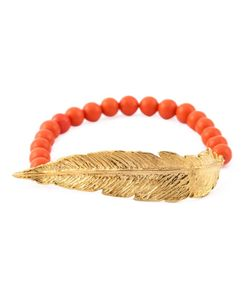 Leivankash | 22kt Plated And Coral Beaded Feather Bracelet From