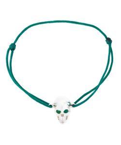 Leivankash | Cotton And Sterling Emerald Eyes Skull Bracelet From