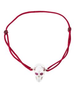 Leivankash | Burgundy Cotton And Sterling Ruby Eyes Skull Bracelet From