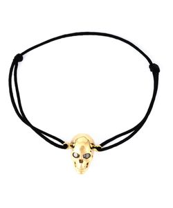 Leivankash | Cotton And Diamond Eyes Skull Bracelet From
