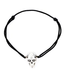 Leivankash | Cotton And Sterling Diamond Eyes Skull Bracelet From