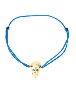 Leivankash | Cotton And Plated Topaz Eyes Skull Bracelet From