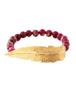 Leivankash | 22kt Plated And Jasper Beaded Feather Bracelet From