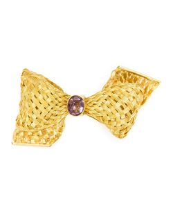 MARIE HELENE DE TAILLAC | 22kt Bow Brooch From Featuring A Pin Fastening A Delicate Woven Design And An Amethyst Centre