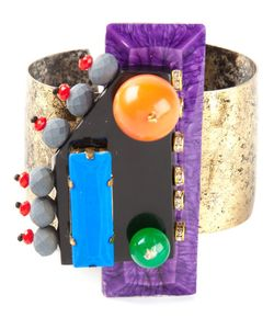 KATERINA PSOMA | Statement Cuff From Featuring Colourful Acrylic Resin Beads And Crystal Elements Mounted On A Brass Cuff