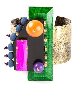 KATERINA PSOMA | Statement Cuff From Featuring Colourful Resin Acrylic Glass And Crystal Components Mounted On A Brass Cuff