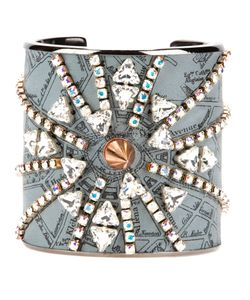 BIJOUX DE FAMILLE | Lambskin Punk Opera Cuff From Featuring A Map Print Of The Opera Area Of Paris And Multiple Crystal And Spike Embellishments