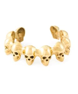 Leivankash | 22kt Plated Skull Memento Cuff From