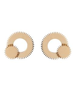 CLARICE PRICE THOMAS | 18kt Plated Sterling Large Double Winding Wheel Earrings From
