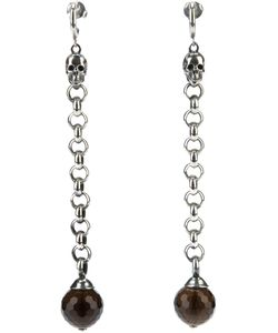 UGO CACCIATORI | Chain Ball Drop Earrings From Featuring A Skull Design To The Top A Hanging Chain Design With Crystal Ball Detailing And A Butterfly Back Fastening
