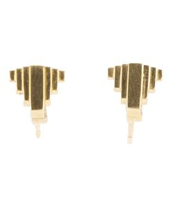 CLARICE PRICE THOMAS | Plated Sterling Hand Crafted Umbra Stud Earrings From Featuring A Butterfly Fastening And An Art Deco Design