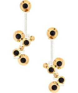 LARA BOHINC | Vermeil Sterling Eye Drop Earrings From Featuring A Butterfly Fastening And Miniature Eye Discs With Onyx Suspended On Thin Circonium Pave Bars