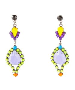 Tom Binns | Multicoloured Swarovski Crystal Riri Teardrop Earrings From Featuring Hand-Painted Crystals In Lime Violet And That Glow In Dark With Uv Light Exposure