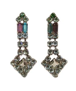 Tom Binns | Multicoloured Swarovski Crystal Drop Earrings From Noble Savage Clair Collection Featuring Pyramid Crystals In Shades Of Erinite And
