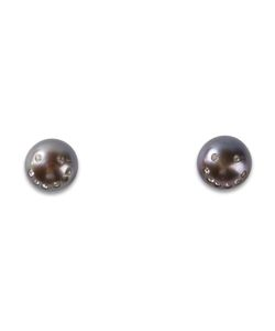 NEKTAR DE STAGNI | Freshwater Pearl Smiley Emoticon Earrings From Featuring Crystal Pave Faces And A 14k Post Backing