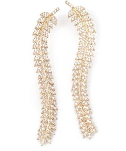 Joanna Laura Constantine | -Tone Leaf Earrings From Featuring Crystal Embellishments And A Curved Structure