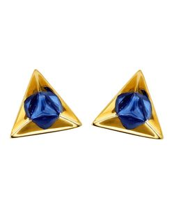 RUIFIER | 18kt Stella Sapphire Earrings From Featuring A Butterfly Fastening And A Deep-Cut Pyramidal 18kt Setting Highlights The Splendour Of These Triangular Sapphire Earrings Refracted Into Hexagons In Their Highly Polished Reflections