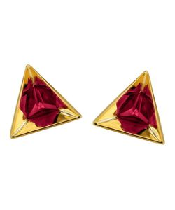 RUIFIER | 18kt Stella Ruby Earrings From Featuring A Butterfly Fastening And A Deep-Cut Pyramidal 18ct Setting Highlights The Splendour Of These Triangular Ruby Earrings Refracted Into Hexagons In Their Highly Polished Reflections