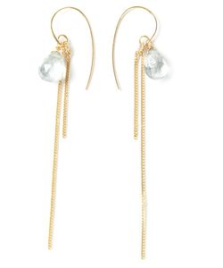 UZERAI EDITS | Sterling And 24kt Vermeil Topaz Earrings From Featuring Facetted Pale London Topaz Drops And Hook Closure