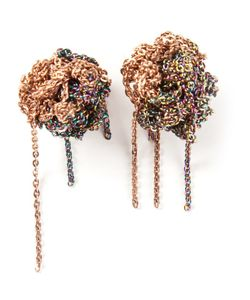 Arielle De Pinto | 18kt And Sterling Crochet Chain Earrings From Featuring A Post Back Closure