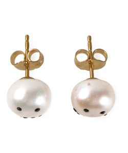 NEKTAR DE STAGNI | Pearl Smiley Emoticon Earrings From Featuring A Butterfly Fastening And A Smiley Face Motif In Swarovski Crystal Pave