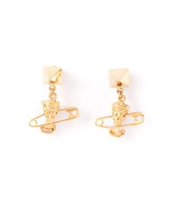 Tom Binns | 24kt Plated Cut Couture Earrings From Featuring A Queens Elisabeths Head Pierced With A Signature Safety Pin