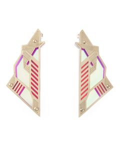 SARAH ANGOLD STUDIO | Acrylic And Brass Mirantor Earrings From Featuring A Butterfly Fastening