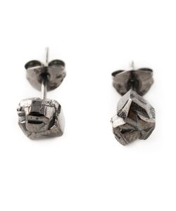ROS MILLAR | Rhodium Plated Sterling Nugget Earrings From Featuring A Butterfly Fastening