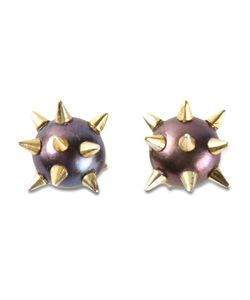 NEKTAR DE STAGNI | Spiked Pearl Earrings From Featuring A Butterfly Fastening 8mm Pearls And 14kt Plated Sterling Spikes