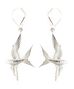 ZOE AND MORGAN | Sterling Return Me To My Love Earrings From Featuring A Leverback Fastening And A Fine Hand Carved Detail Of A Swallow