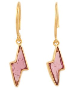 MARIE HELENE DE TAILLAC | 22kt Tourmaline Lightning Bolt Earrings From Featuring A Hoop Hook Fastening