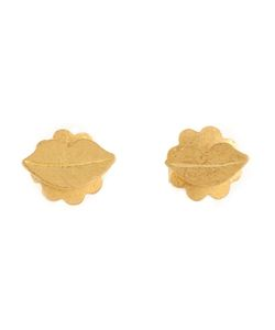 MARIE HELENE DE TAILLAC | 22kt Lip Earrings From Featuring A Butterfly Fastening