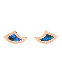 DEZSO   Opal And Diamond Shark Fin Earrings