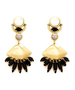 LIZZIE FORTUNATO JEWELS | Plated Brass Glass Pearl And Agate Monte Alban Earrings From