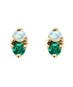 WWAKE | Opal And Emerald Stud Earrings