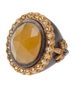 SARA WEINSTOCK | Oxidized Ring From Featuring A Cut Oval Beryl Stone Set At The Front A Scalloped Border Set With Diamonds And Flower Detailing At The Sides With Diamonds Set In The Petals And Centre