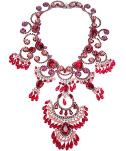 Rodrigo Otazu | Exquisite Couture Necklace From Featuring A Signature Mix Of Glamour And Roughness Swarovski Crystals In Different Hues Of Fuchsia And And A Toggle Book Clasp Fastening